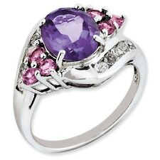 Sterling Silver Amethyst Pink Tourmaline & White Topaz Ring 2.83 gr Size 5 to 10