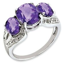 Sterling Silver Three Stone Oval Amethyst & .05 CT Diamond Ring Size 5 to 10