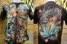 3D KOI Fish Dragon Japanese Tattoo Tee Full HD Glow in The Dark T-shirt New