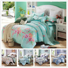 100% Cotton Twin/Full/Queen/King Size Bed Set Pillow Cases Quilt Duvet Cover