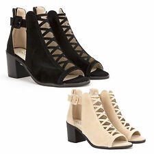 Womens Ladies Low Wedge Heel Sandal Lace Up Cut Out Shoes Ankle Strap Size 3-8