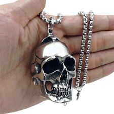 Men Large Heavy High Polished Skull 316L Stainless Steel Biker Pendant Necklace