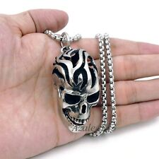 Men's Large Skull 316L Stainless Steel Biker Pendant Box Chain Necklace Set A23L