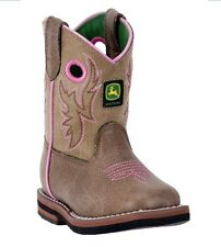New John Deere JD1021 Baby's Tan Square Toe Pull-On Wellington Boots