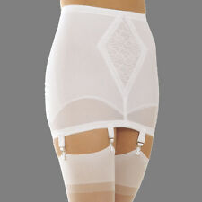 Rago 1365 Open bottom Girdle White with garters with stockings Medium Shaping