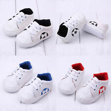 New Baby Boy Girl Football Trainers Sneakers Lace Up Running Sport Shoes 0-18M