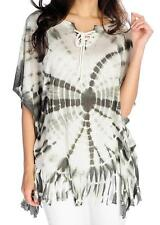 NEW Indigo Thread Co.™ Tie-Dyed Knit Elbow Sleeve Fringe Trimmed Lace-up Poncho