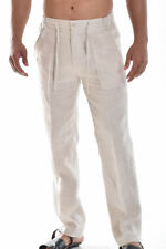 Mens 100% Linen Natural Casual Flat-Front Drawstring Pants Sizes (S ~ XXL) MLP19