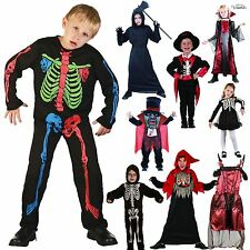 KIDS HALLOWEEN COSTUME FANCY DRESS OUTFIT HORROR VAMPIRESS WITCH ZOMBIE SKELETON