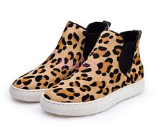 Stylish Womens Cute Leopard High-top Pull On ANkle Boots Flat horse hair Shoes