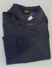 Polo Ralph Lauren DOUBLE RL RRL Faded Cotton Fleece Shawl Sweatshirt Sweater