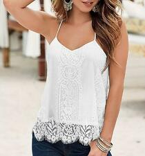 Swing Top Floral V Neck Strappy Sleeveless Party New Summer Eyelash Lace Cami