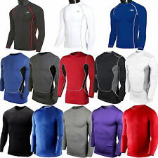 Mens Compression Armour Under Base Layer Gear Top Long Sleeve Tight Sports Shirt