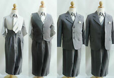 Toddler Teen Boy dark grey pinstripe formal suit wedding prom party graduation
