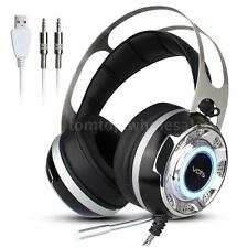 7.1 Virtual Surround Sound Gaming Headset Headphone Music Headband with MiC LED