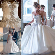 Princess Sweetheart Rhinestones Wedding Dress White Ivory Puffy Bridal Gown 2016