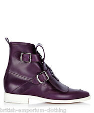 VIVIENNE WESTWOOD Purple Leather Buckle Boots Shoes EU41 UK7 US8 BNIB
