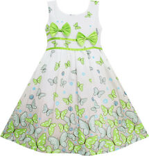 Girls Dress Butterfly Green Double Bow Tie Summer Beach Sundress Kids Size 4-12