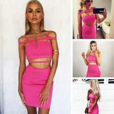 Sexy Women Crop Top Skirt Outfit Summer 2 Piece Set Bodycon Club Party Dress