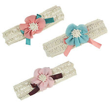 Baby Toddler Girl Lace Flower Bow Hair Clip Pin Band Headband (Blue)) YM