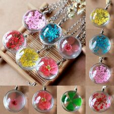 NEW Fashion Transparent Ball Glass Dried Flower Necklace Pendant Jewellery Gift