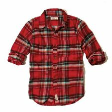 New Hollister By Abercrombie Mens Button Down Sports and Flannel Shirt Red Nwt