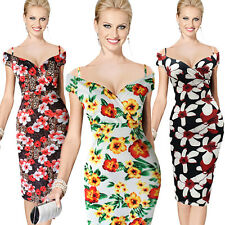 Plus Size Sexy Womens Off Shoulder Floral Print Cocktail Party Evening Dress