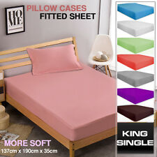 POLY COTTON 2 Piece Bed Fitted Sheet + Pillowcase Set KING SINGLE