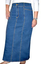 Kosher Casual Women's Modest Long Jean Skirt with Panels - NEW FABRIC!
