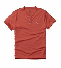Nwt Abercrombie & Fitch By Hollister Men's Solid T Shirt Henley Red