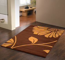 MODERN LARGE  RETRO BROWN BEIGE  STYLISH FLOWERY 160 X 225CM  CONTEMPORARY RUGS