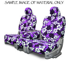 Purple Hawaiian FRONT Universal High Back Bucket Seat Covers