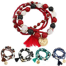 Women's New Bohemian Multilayer Mixed Acrylic Beads Rhinestone Elastic Bracelet