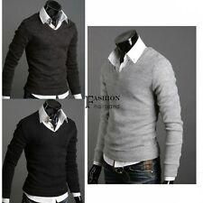 Men Pullover Jumper Sweater Cardigan Long Sleeve Korean Solid Knitted Tops FNHB