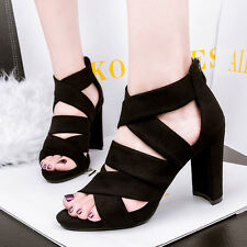 4-8 size Block Heels Suede Peep-toe Sandals Cut Out Sexy Clubwear Womens Shoes