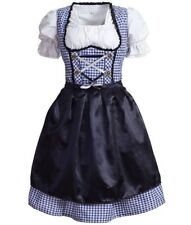 Oktoberfest Traditional German Beer Girl Costume Blue Gingham Dirndl
