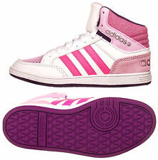 Adidas Junior Girls VL Neo Hoops Mid Top Pink Purple White Glitter Trainers New