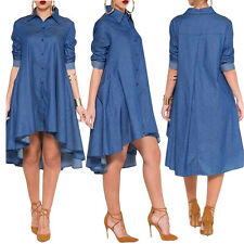 New Fashion Women Blue Denim Collared Shirt Long Sleeved Midi Shirt Dress Summer
