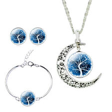 Exquisite Silver Jewelry Sets Glass Cabochon Moon Necklace Earrings Bangle Set