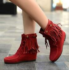 Retro Womens Faux Suede Fringe Tassel Moccasin Shoes Lace up Ankle Boots New HS6