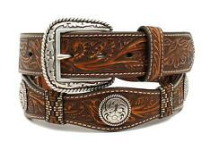 Ariat Western Mens Belt Leather Scalloped Floral Ribbon Concho Brown A1023202