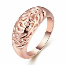 18K Rose Gold Plated Rose Flower Hollow Band Ring Women Wedding Jewelry SZ 6 7 8