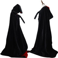 Black Velvet Hooded Cloak Halloween coat Witch Wizard wicca Robe Gothic Costumes