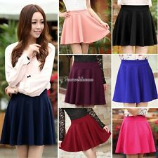 Women Candy Color Stretch High Waist Plain Skater Flared Pleated Mini Skirt SH