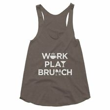 Graphic Tee, Womens, Work Play Brunch Funny Racerback Tank