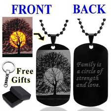 Military Men's Tree Dog Tag Stainless Steel Pendant Chain Custom Carven Necklace