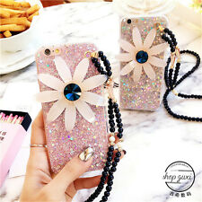 Luxury crystal bling sweet 3D daisy strap Soft case cover for iphone 6 6S 6Splus