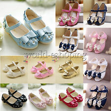 Toddler Baby Girls Kids Soft Sole Shoes Bow Sandals Princess Party Walking Flats