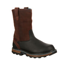 Rocky Elements Mens Brown Leather Block WP Steel Toe PullOn Work Boots