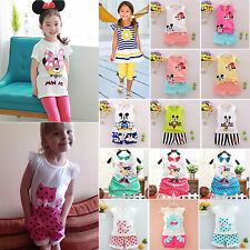 Toddler Kids Baby Girl Cartoon Outfit T Shirt Vest Tops+Shorts Pants Clothes Set